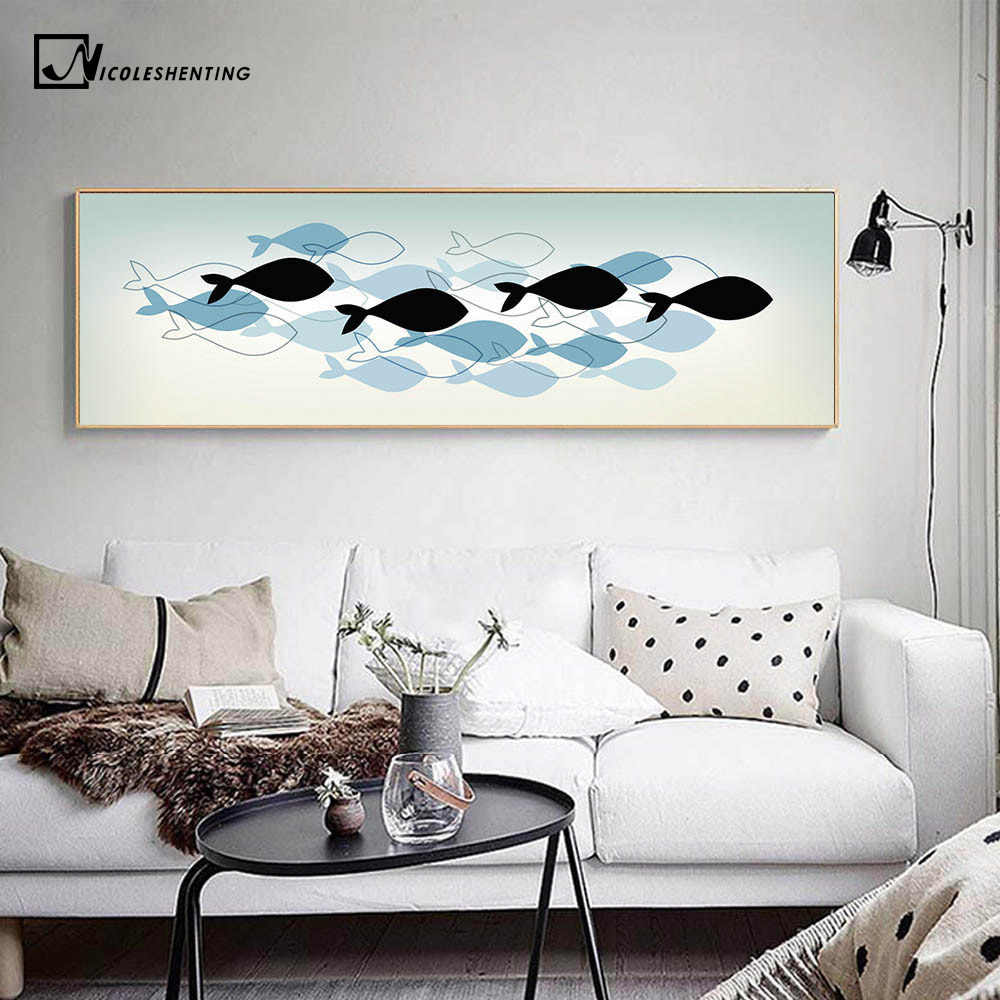 Nordic Art Fishes Canvas Poster Abstract Minimalist Art Painting Wall Picture Huge Print Home Living Room Bedroom Decoration