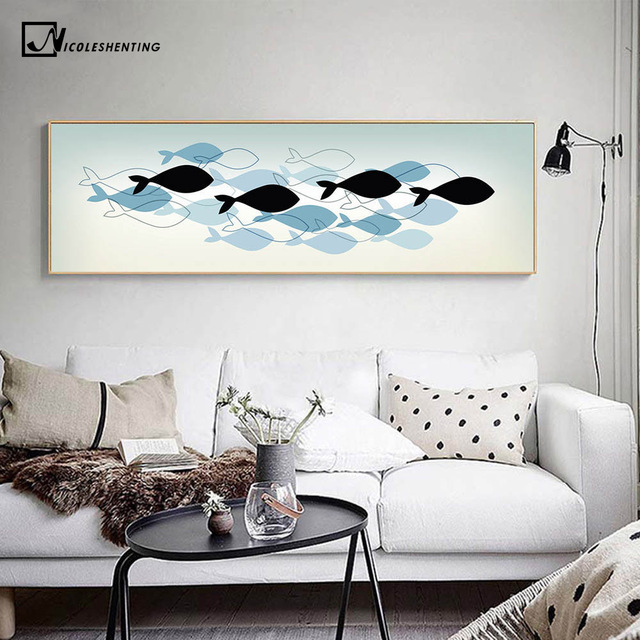 Nordic Art Fishes Canvas Poster Abstract Minimalist Art Painting Wall  Picture Huge Print Home Living Room