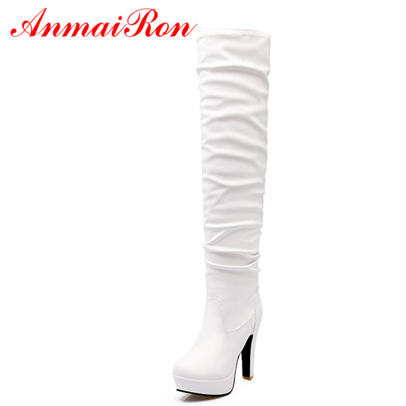 ФОТО ANMAIRON Fashion Sexy Women Boots High Heel Long Boots Women Platform Square Heel High Boots Black Shoes Women Large Size Boots