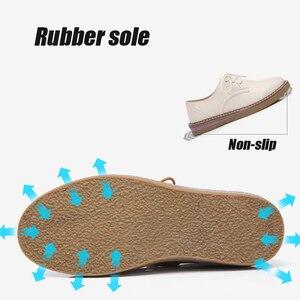 Image 5 - 2019 outono oxford sapatos para as mulheres de couro genuíno rendas até apartamentos dedo do pé redondo chaussure femme mocassins tênis mulher 8516