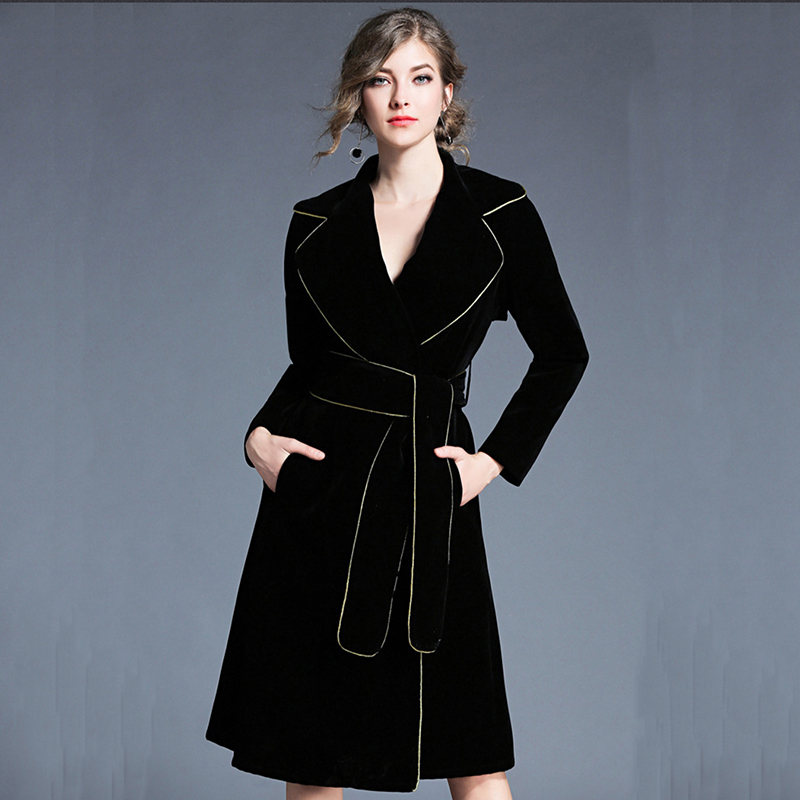 2018 Europe Women Solid Black   Trench   Golden Band Turn-down Collar Velvet Coat Female Belt Full Sleeve Long High Waist Overcoat