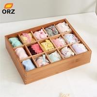 ORZ Socks Storage Box Bamboo Bin Clothes Bra Underware Ties Cosmetics Make Up Jewelry Desktop Wardrobe Drawer Storage Organizer