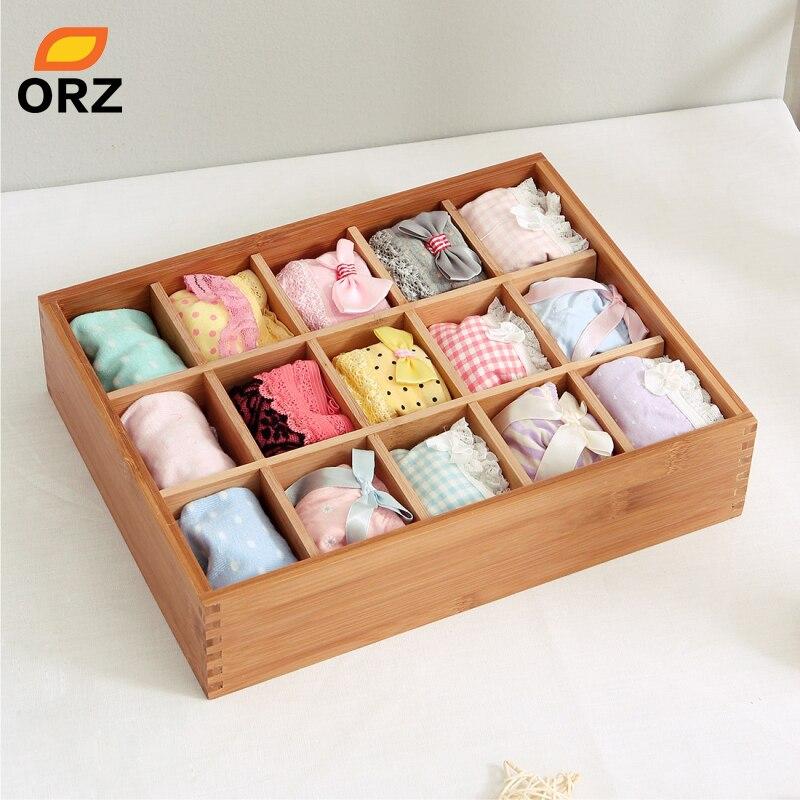 ORZ chaussettes boîte de rangement bambou Bin vêtements soutien-gorge sous-vêtements cravates cosmétiques maquillage bijoux bureau armoire tiroir organisateur de rangement
