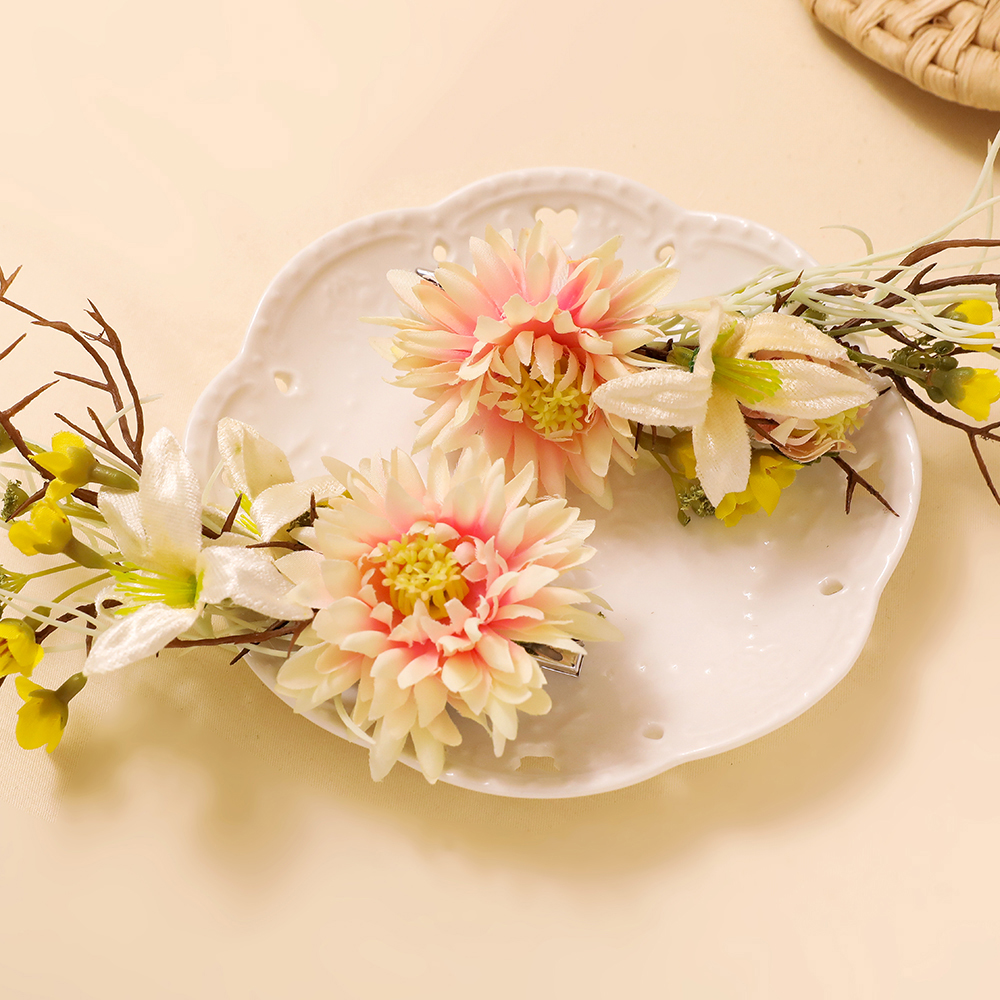 Romantic Flower Hair Clips Artificial Floral Headdress Barrettes Fashion Girls Pageant Hairwear Country Wedding Headpiece Clip