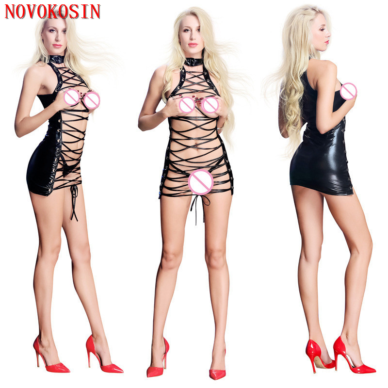 XX133 2018 Women Baby Doll Hot Front Tie Halter Sexy Lingerie Faux Leather Sex Costumes Erotic Open Bra Black Short Dress