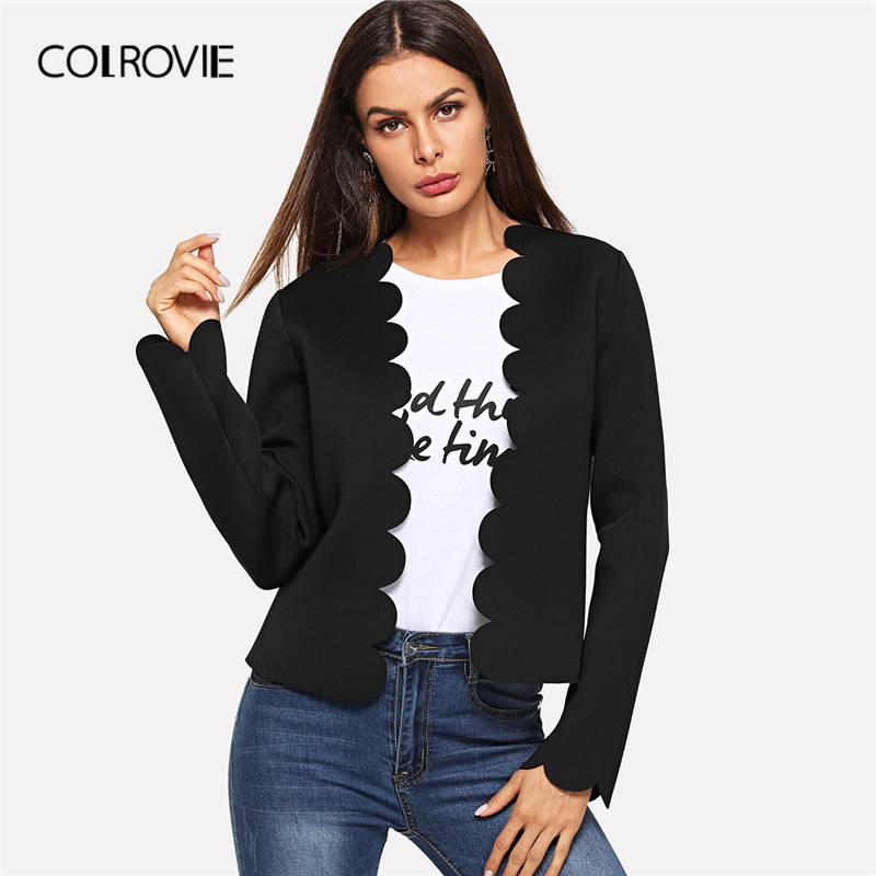 COLROVIE Black Solid Scallop Trim Bolero Casual Women Blazer Feminino 2019 Spring Office Ladies Coats Elegant Outerwear Coat
