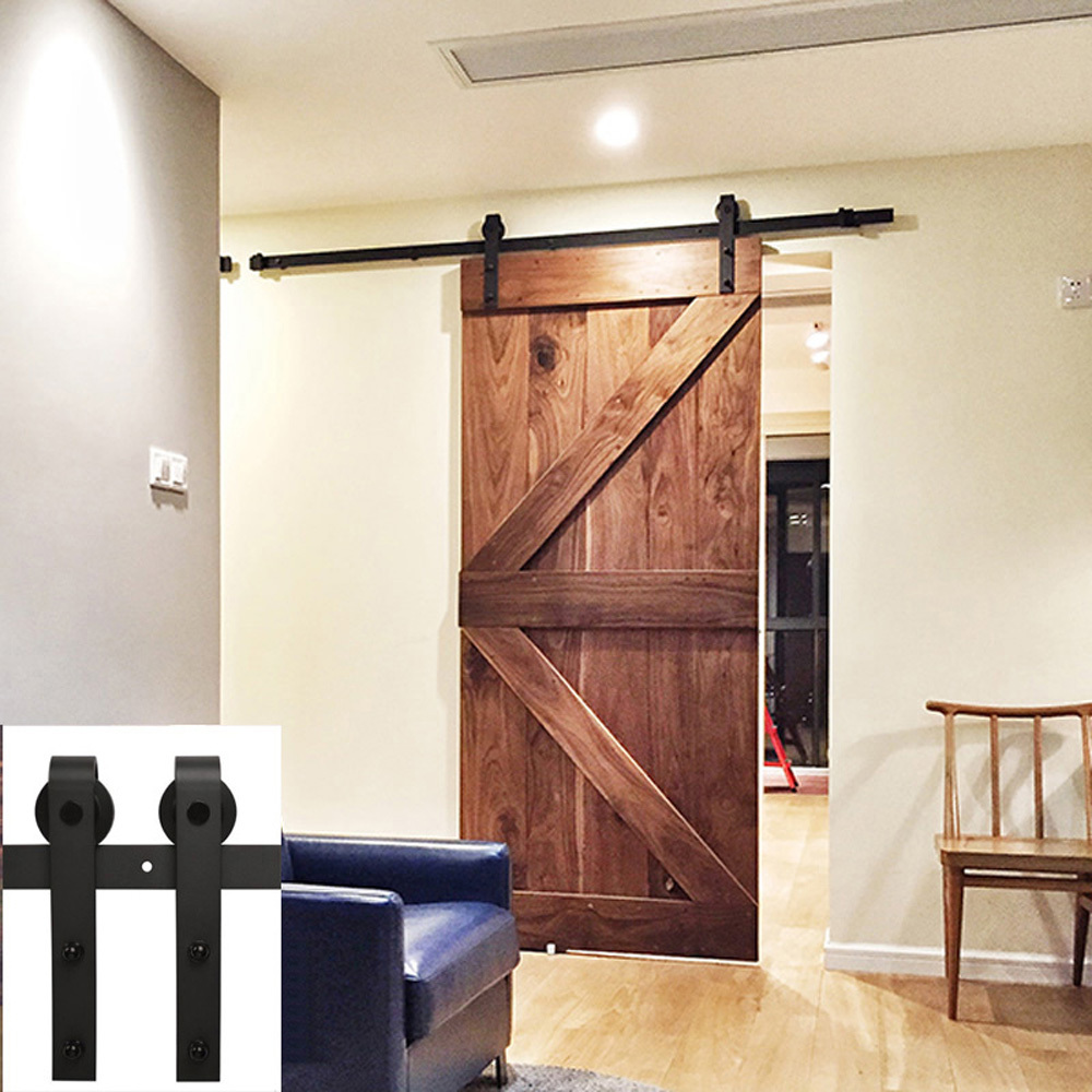 free shipping 6 5ft black country barn wood steel sliding single door hardware closet set. Black Bedroom Furniture Sets. Home Design Ideas
