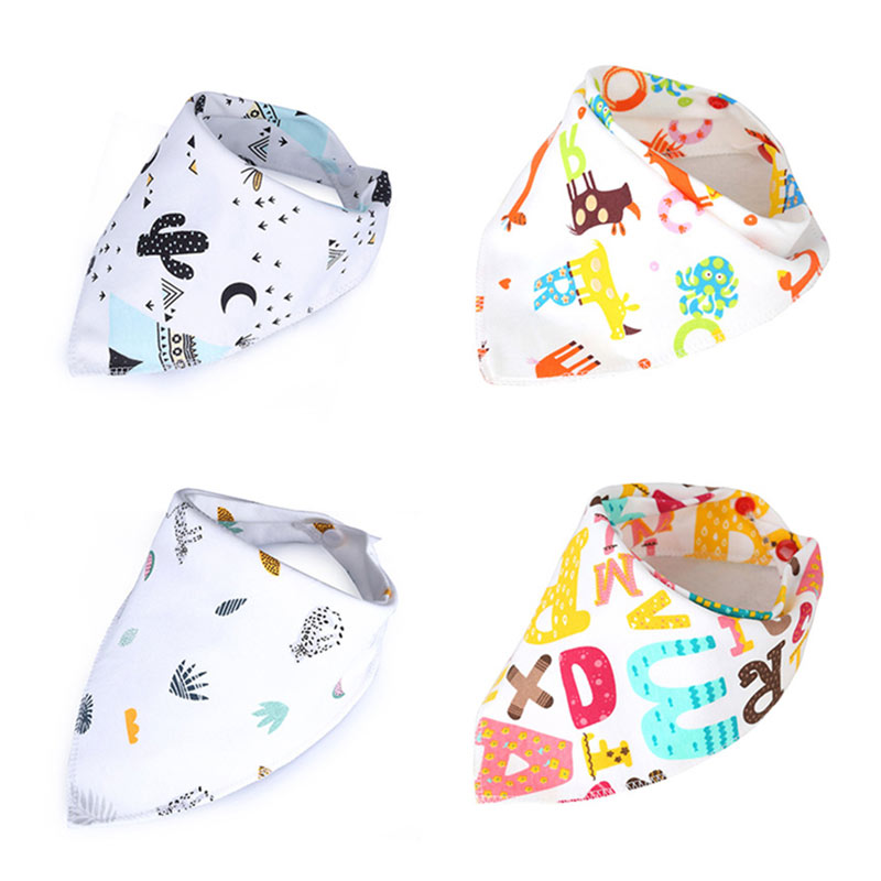 Baby Bandana Bibs 1/2Pc Cotton Triangle Feeding Bib Newborn Scarf Bibs Burp Cloths Slabber Absorbent Cloth Double Layers Baberos