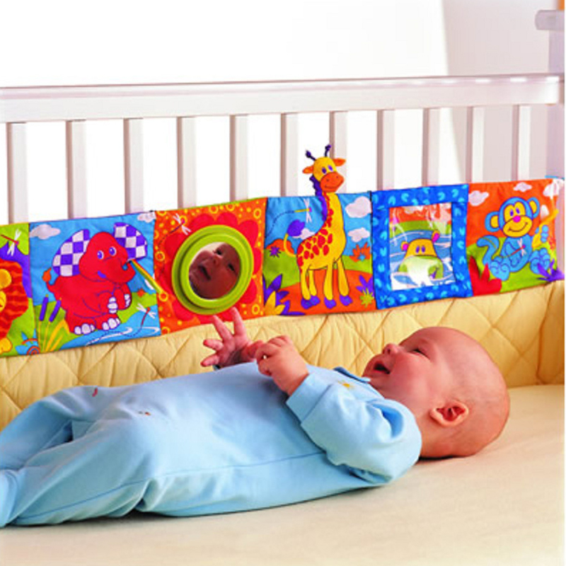 Baby Toys 0-12 Months Infant Rattles Cloth Book Knowledge Around Multi-touch Multifunction Fun & Double Color Crib Bed Bumper