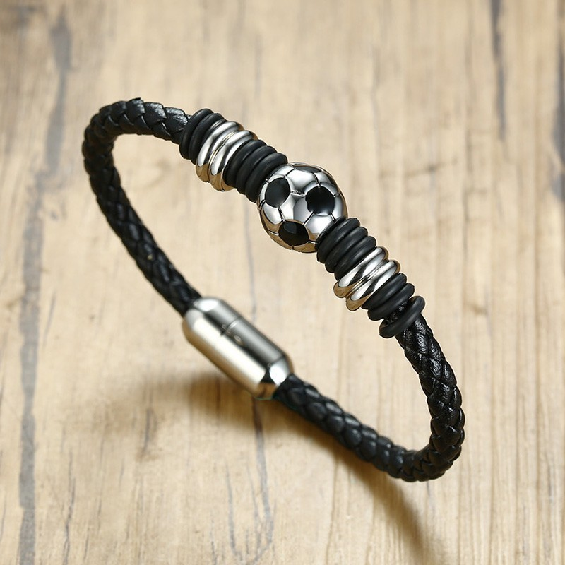 Black Genuine Leather Bracelet Mens Stainless Steel Sport Football Magnetic Bucklet Best Gift Jewelry For Men Bangle