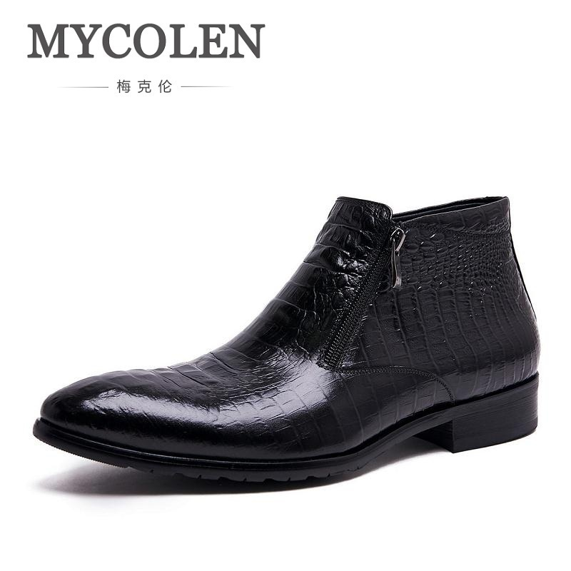 MYCOLEN Men's Genuine Leather Ankle Boots Man Pointed Toe Punk British Style Chelsea Boot Zipper Mens Business Casual Shoes new british style real top cow leather boots qshoes mens business dress casual fashion men personalized round toe boot y97 663