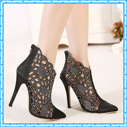 rhinestone pumps ladies shoes woman pointed toe an...