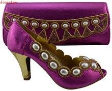 Doershow novo padrão Africano sapatos e bolsa frete grátis, top qualidade senhoras sapatos Italianos e saco de harmonização definir fuchsia HJZ1-108
