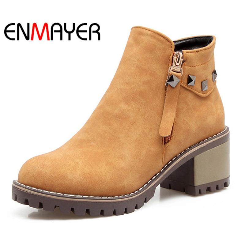 купить ENMAYER Black Yellow Large Size Ankle Boots Square Heel Fashion Buckle Women Shoes Autumn Platform Pumps  Rivets for Woman недорого