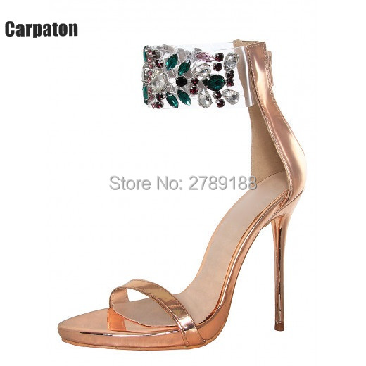 2017 Rhinestons Beading Sandals Gold Gladiator Sandals Women High Heels 10cm Shoes Summer Ladies Crystal party Shoes size 43 phyanic 2017 gladiator sandals gold silver shoes woman summer platform wedges glitters creepers casual women shoes phy3323