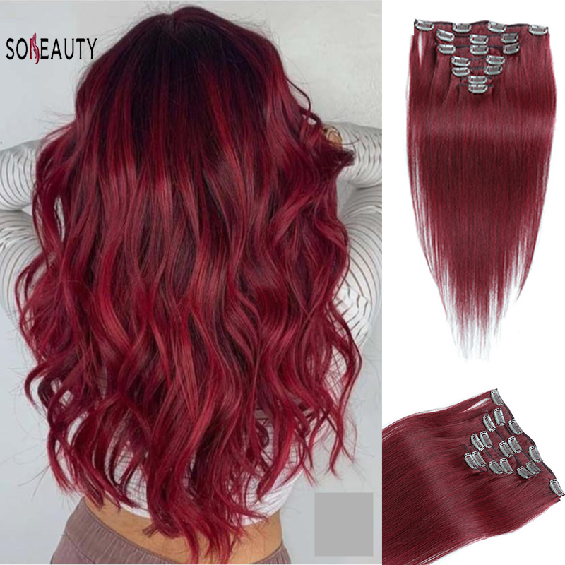Sobeauty Red Clip In Hair 16''18''20''22'' Clip In Human Hair Extensions Straight  Hair For Women Machine Made Remy Hair
