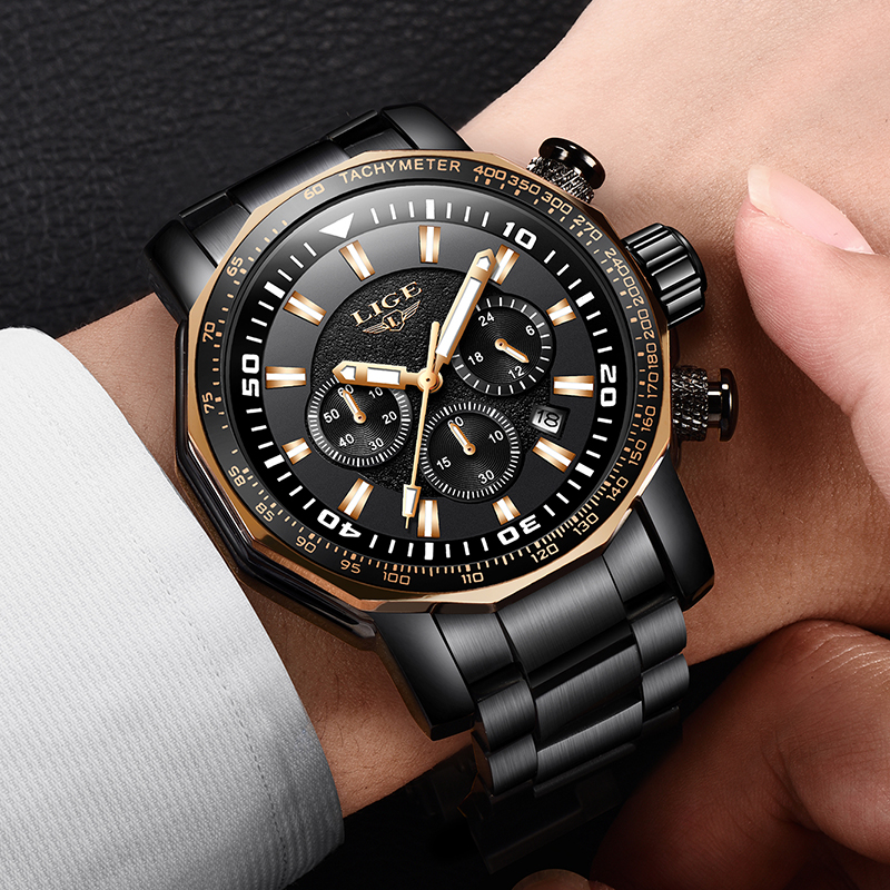 LIGE New Top Brand Luxury date Timing Mens Watches Stainless Steel Military Waterproof Sport Quartz Men Watch Relogio Masculino