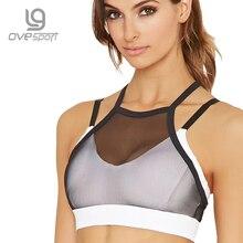 Ovesport Mesh Women Sport Bras Running Gym Yoga Bra Padded Top Fitness Activewear For Women Workout Sports Bras Shockproof Vest