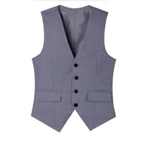 new Ma3 jia3 Light grey men suits waistcoat v neck black groom wedding tuxedos vest tailor made business work waistcoat