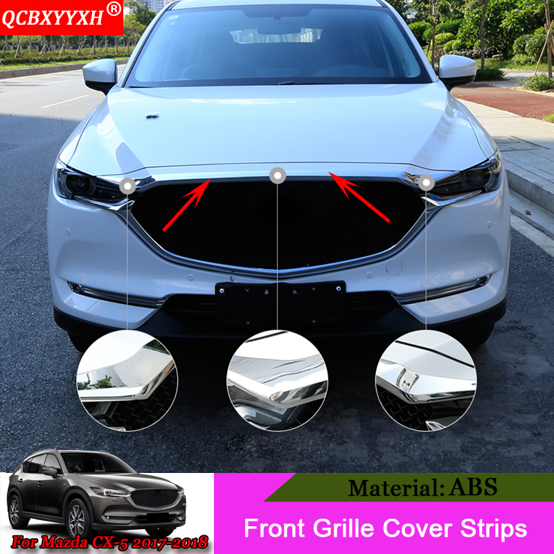 QCBXYYXH Car Styling ABS Chrome Front Grille Hood Engine Cover Trim External Sequins Auto Accessories For Mazda CX-5 2017 2018 for 2014 mazda 6 atenza abs chrome rear bumper trim car accessories