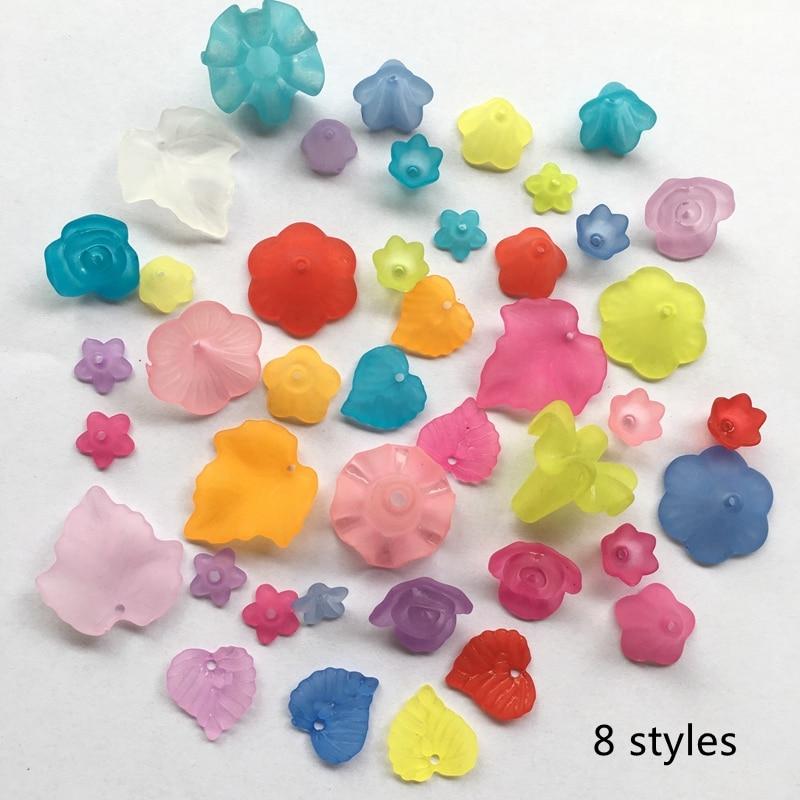 Meideheng Plastové akrylové Průhledné Frosted květiny campanula Korálky pro šperky Výroba Handmade DIY Doplňky řemesla 8 stylů