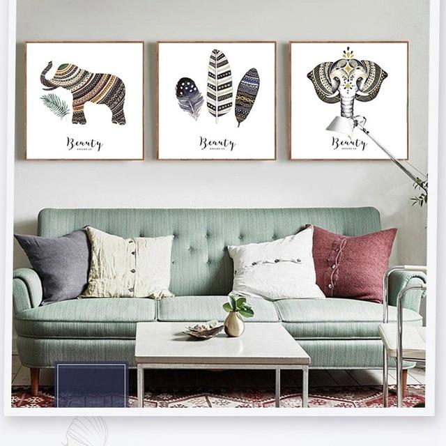 US $5.99 40% di SCONTO|Stile esotico Bohemian Modello Elefante Uccelli di  Volo Piuma Pittura Decorativa Europea Soggiorno Sfondo Decorazione Della ...