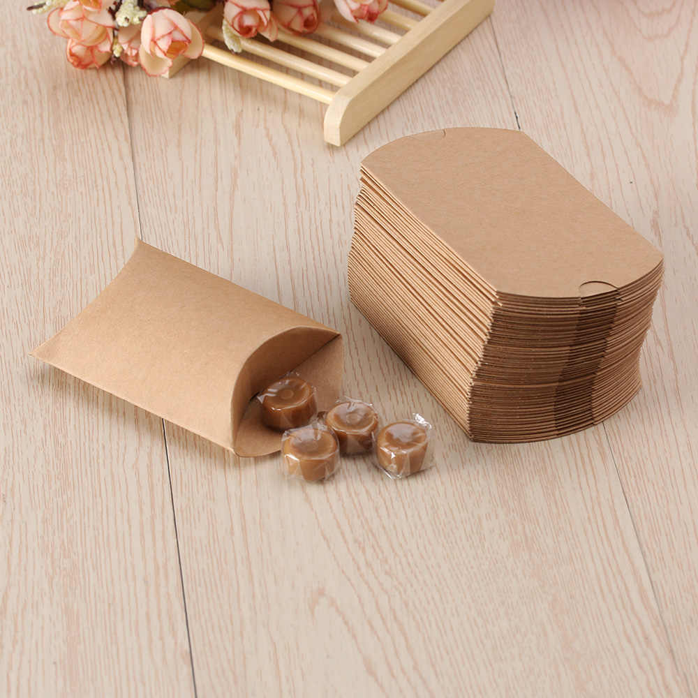 10pcs/set Cute Kraft Paper Pillow Candy Box Wedding Favors Gift Candy Boxes Home Party Birthday Supply