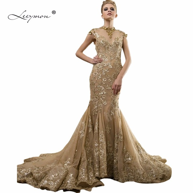 Leeymon Real Gold Mermaid Wedding Dress 2017 Open Back High Neck ...