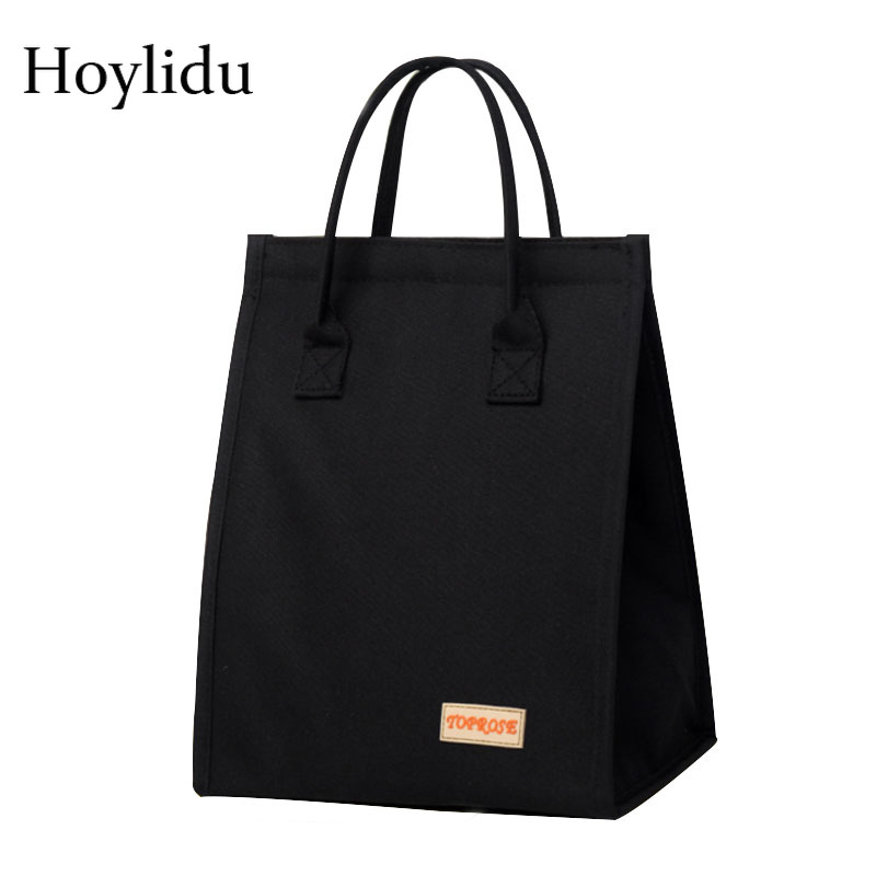 Waterproof Oxford Solid Thermal Insulation Kids Lunch Bags Women Portable Heat Preservation Picnic Lunch Box Aluminum Food Bag