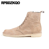 Booties Autumn Suede High Top Retro Combat Boots Military Shoes Full Grain Korean Army Men Short Genuine Leather Italian Ankle
