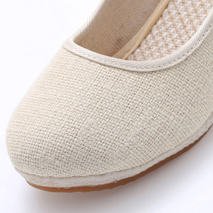 Image 5 - Veowalk Handmade Women Plain Linen Cotton Wedge Espadrilles Vintage Solid Color Ladies High Heel Slip on Platforms Pumps Shoes
