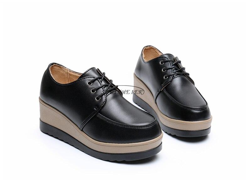 45cf5ae5947ef ₩أحذية منصة أسفل عارضة النساء أحذية جولة تو الدانتيل يصل أبيض أسود ...