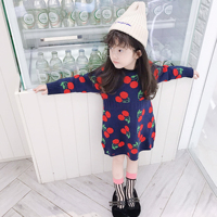 Spring Autumn baby long sweater girls knitted dress kids knitwear Children brand vestidos wool cherry jacquard dobby 1 to 7 yrs