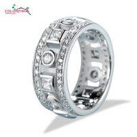 COLORFISH Vintage Ring For Women Fashion Anniversary Jewelry Genuine 925 Sterling Silver Brilliant Round 9mm Wedding Band Ring