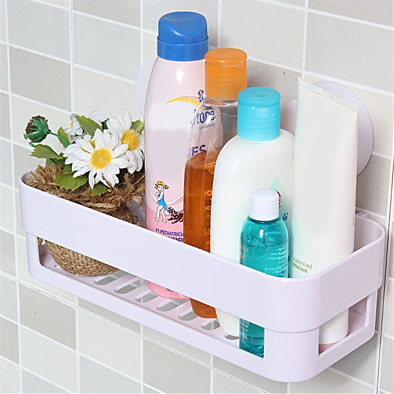 Dual Strong Suction Cup Bathroom Shelf Kitchen Storage Wall Mounted Holder Bathroom Wall Rack Shower Lotion Organizer Shelf