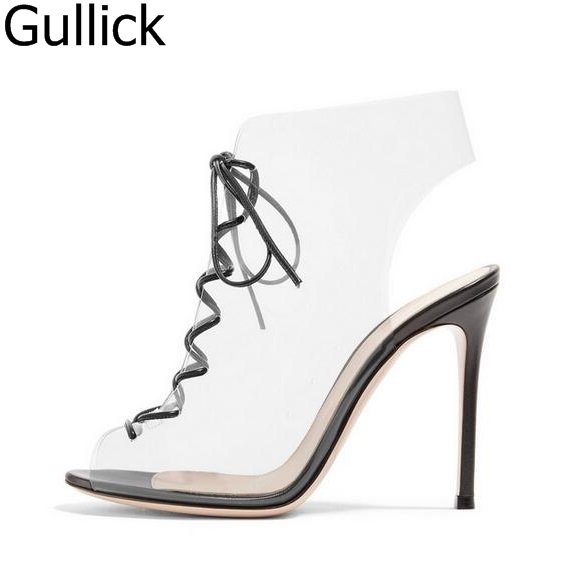 Hot Sale Women PVC Transparent Ankle Boots Peep Toe Lace-up Gladiator Sandals Boots For Women Cut-out Thin Heels Dress Shoes sweet sleeveless cut out lace spliced striped dress for women
