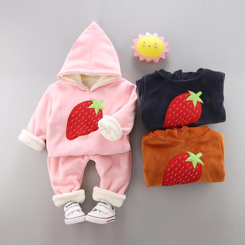 Newborns Infant Toddler Girls Strawberry Printed Cute Suit Kids Girls Hoodies Sweaters+pants 2pcs Sets Kids Pullovers Sweatshirt