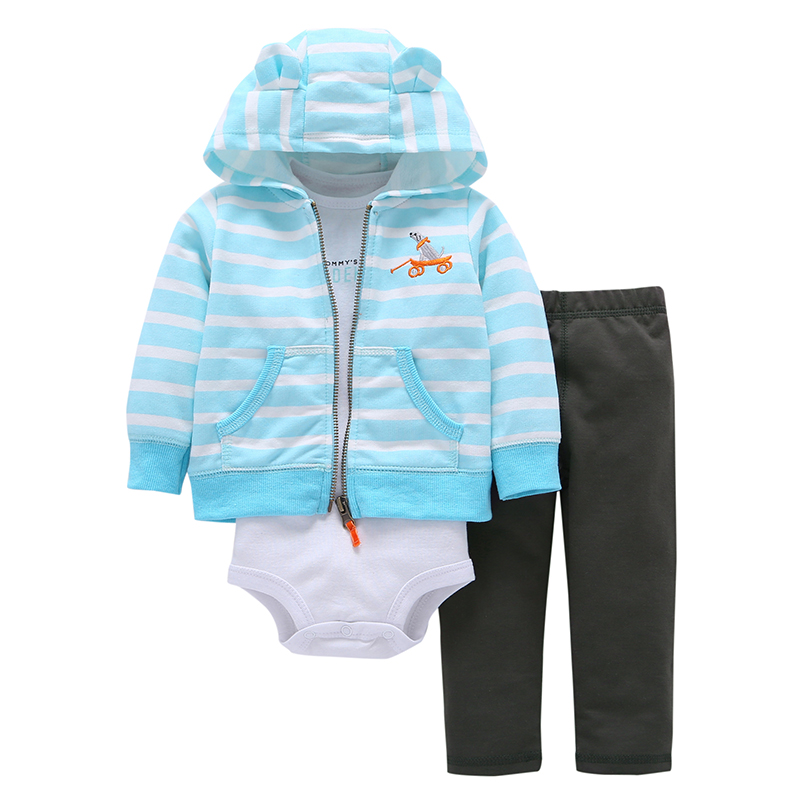 100% Cotton Stripe Coat Letters Long Sleeved Newborn Baby Boy girl Climbing Clothes Romper +Trousers 3 Piece Clothes Babys Sets
