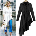 Plus Size Women Clothing 2017 Spring Autumn Swallow-tailed Shirt Dress European Style Asymmetrical Long Sleeve Shirt Women