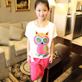 Retail Teenage Girls' Clothing Sets Summer 2015 Owl Printed Batwing Sleeve T-shirt and Capris Chiffon Patched Big Girls Clothes
