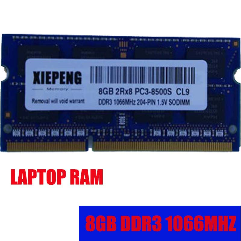 <font><b>8GB</b></font> 2Rx8 PC3-8500S <font><b>1066MHz</b></font> <font><b>DDR3</b></font> <font><b>8gb</b></font> 1066 MHz Laptop Memory 4G pc3 8500 Notebook 204-PIN SODIMM <font><b>RAM</b></font> image