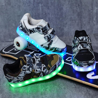 Boys led light shoes children's camouflage luminous shoes for boy kids glowing sneakers shoes children orthopedic footwear SE9