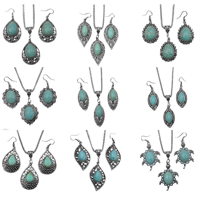 3db / készletek Mujer nyilatkozat Kolye levelek Calaite kő nyaklánc & medál Vintage ezüst tónus fülbevaló Calaite Ékszer szettek