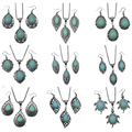 3pcs/sets Mujer Statement Kolye Leaves Calaite Stone Necklace & Pendant Vintage Silver Tone Earrings Calaite Jewelry Sets