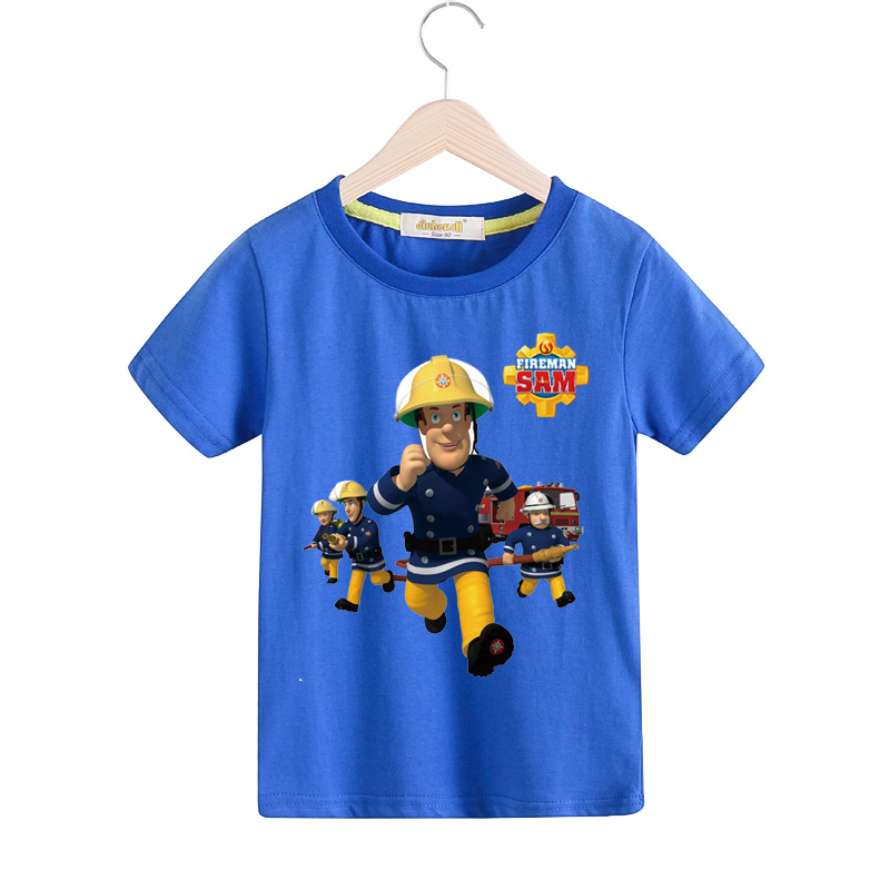 2018 Cartoon Fireman Sam T-shirt For Boy Girls Short Sleeves Brandweerman Sam Tshirt Children 100%Cotton Tee Tops Clothes TX024 2018 new 3d cartoon fireman sam print tee tops for boy girl summer short sleeve t shirt children cotton clothes kid tshirt tx041