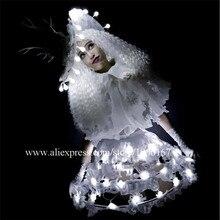 Белый свет до пикантные женские вечерние платье DS Костюмы подсветкой производительность Косплэй милой принцессы маскарад LED одежда