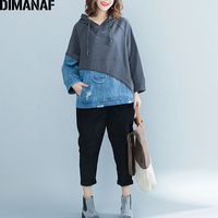 DIMANAF Women Hoodies Sweatshirts Autumn Winter Thicken Female Clothes Vintage Pullover Tops Loose Plus Size Denim Spliced 2018