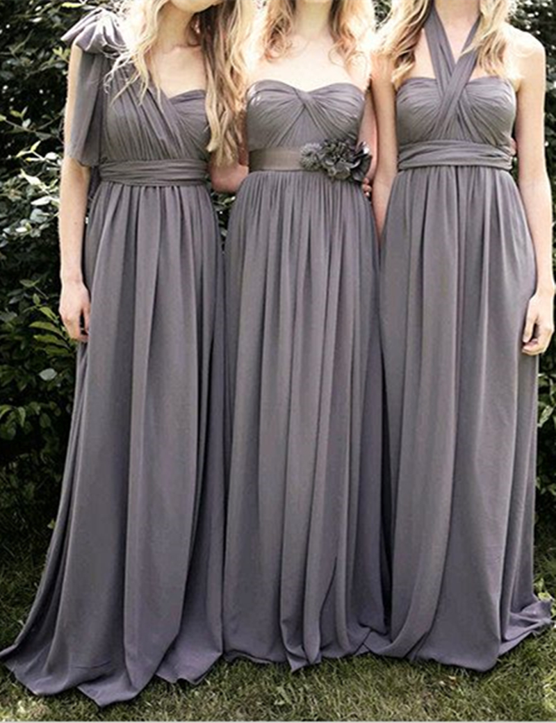 Online get cheap long grey dresses bridesmaid aliexpress grey bridesmaid dresses long chiffon bridesmaid dress with three kinds necklines sweetheart halter one shoulder bridesmaid ombrellifo Images