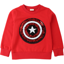 цена на Captain America Pattern Sweatshirts for Children Long Sleeve Tops boys T-shirt Girls Pullover Blouse Kids Clothes  Autumn 2018