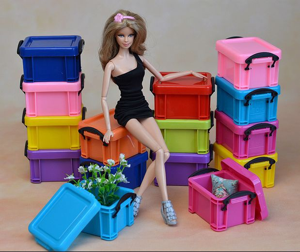 5pcs/lot Mini Storage Sweet Containing Field Combine Coloration DIY Equipment For Barbie Kurhn Doll Dollhourse Furnishings Enhance Room